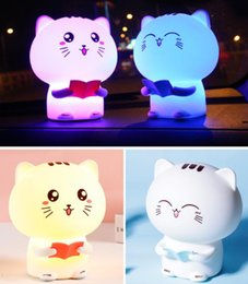 $enCountryForm.capitalKeyWord Australia - New LED night light Mini cartoon cat remote control silicone patted induction atmosphere bedroom bedside table lamp