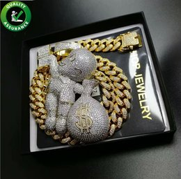 Necklace Bag Pendant Australia - Iced Out Pendant Hip Hop Bling Chains Jewelry Men Gold Necklace Luxury Designer Cuban Link Diamond Cartoon Mario Money Bag Rapper DJ Love
