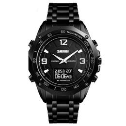 Discount watches digital compass - Multifunctional fashion steel belt waterproof watch men's business clock digital display temperature compass sports