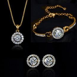 Cheap Bohemian Bracelet Sets NZ - Zircon Crystal Necklace Bracelet Earrings Jewelry Set Gold Silver Rose Gold Color Wedding Jewelry Sets for Women Cheap DHL FREE