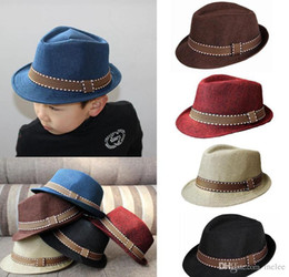 Cool spring hats for boys online shopping - New Fashion Kids Boys Girls Unisex Fedora Hats Cap for Children Contrast Trim Cool Jazz Chapeu Feminino Trilby Sombreros colors