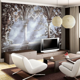 Discount palace backdrops - beibehang Custom wallpaper 3d stereo photo mural European retro palace railings Christian TV backdrop wall paper papel d