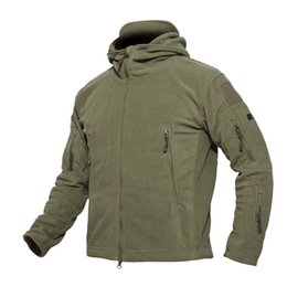army combat jacket 2019 - Winter Fleece Zip Hoodie Army Jacket Combat Hoody Solid Warm Hooded Jacket Coat Outerwear For Men cheap army combat jack