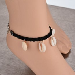 Wholesale shot shell for sale - Group buy Kathy Real Shooting Handmade Braided Rope Bohemia Feet Jewelry Beach Natural Shell Ankle Bracelet Women Gift BB116