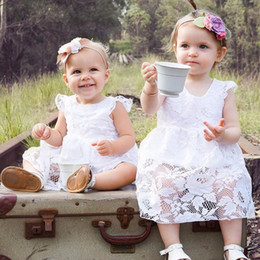 baby white lace romper Australia - Baby Girls Romper Dress 2019 New Summer Lace Flower 1 Year Birthday Dresses White Backless Newborns Princess Clothing
