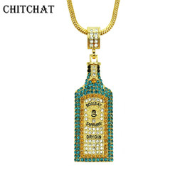 vogue jewelry china UK - Big Wine Bottle Necklaces Full Rhinestone Iced Out Pendants Hip Hop Men Women Gold Color Vogue Jewelry For Rocker J190616
