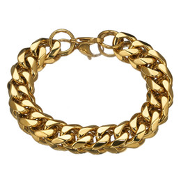Venta al por mayor de 15mm 7-11 pulgadas más nuevo de la cadena del bordillo cubano dorado alta calidad pulsera de acero pulsera diaria de la muñeca amigos regalo preferido