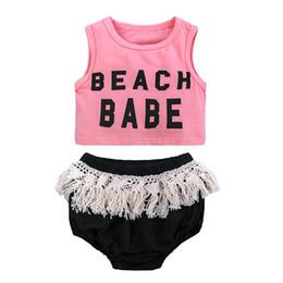 "$enCountryForm.capitalKeyWord UK - 2019 INS Summer ""Beach Babe"" Letter Printed girls Vest Sleeveless T-shirt Solid Color Tassel Shorts Triangle PP Pants 2PCS Kids Clothing Set"