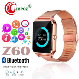 smart watches sim cards NZ - 1 PCS Bluetooth Smart Watch Z60 Wireless Smart Watches Stainless Steel For IOS Android Support SIM TF Card Camera Fitness Tracker with Retai