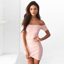 d5c7184985 2019 Summer Sexy Off Shoulder Bodycon Dress Short Sleeve Slash Neck Split Elegant  Party Dress Mini Dress Vestidos Robe Femme