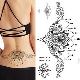 $enCountryForm.capitalKeyWord Australia - 1pc Chest Flash Tattoo 23models Large Black Magical Flower Sternum Tattoos Body Paint Necklace Under Breast 24*13.8cm Cool Girls T190628