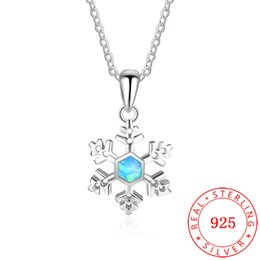 bee2cab56 white rhodium plated snowflake Christmas design necklace genuine s925  sterling silver bar pendant necklace fashion style for women