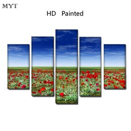 $enCountryForm.capitalKeyWord Australia - Free shipping HD Printed 5 Pieces High Quality Large size Canvas beautiful painting red flowers under the sky Wall Art pictures Home Decor
