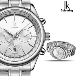 Discount ik watches automatic - IK Automatic Mechanical Brand Man Watch Mens 24 Hours Calendar Luminous Silver Full Steel Watches Fashion Simple Casual