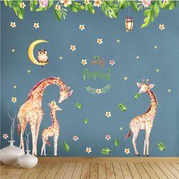 $enCountryForm.capitalKeyWord NZ - 2pcs set Cartoon Animal Cute Giraffe Owl Wall Sticker For Kids Rooms Home Decor TV Sofa Wall Poster Flowers Leaves PVC Art Mural