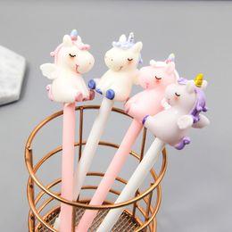 wholesale stationery for kids 2019 - 1pc Unicorn Gel Pens Kawaii Multi Shape Silica Gel &Plastic Unicorn Pens For Kids Girls Gifts School Writing Supplies St