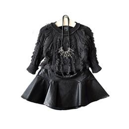 Girls ruffled tutu skirts online shopping - Retail kids luxury designer clothes girls PU leather skirt Classic black princess dress pleated skirt skirts Children boutique clothing