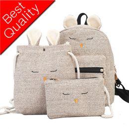 $enCountryForm.capitalKeyWord Australia - Women Backpack School Backpack For Teenager Girls Canvas 3 Pcs Linen Rabbit Ear Bag Design Kawaii Female Bolsas Bookbags Casual