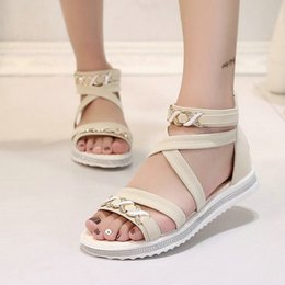 f97c4c008ea0 Women Sandals Summer Shoes 2019 New Flat Heel Sexy Gladiator Shoes Women  Sandalias Zipper Metal Chain Fashion Ladies