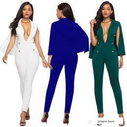 $enCountryForm.capitalKeyWord Australia - Plus Size S--3XL Six Colours Cape Style Women's Jumpsuits & Rompers,Sexy Deep V Neck,Long Pants