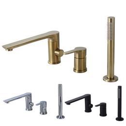 shower ceramic UK - Bathroom Shower Faucet Bath Shower Set Waterfall Bathtub Sink Faucet Water Mixer Sink Taps Brass Chrome & Black & Brushed Gold