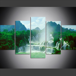 4090805c9 5 Piece Large Size Canvas Wall Art Pictures Creative Detian Waterfall  Scenery Art Print Oil Painting for Living Room Decor