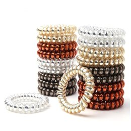 Wholesale Women Girls Size 5.5 CM Hair Bands 4 Color Elastic Rubber Telephone Wire Hair Ties & Plastic Rope Hair Accessories Lots 100Pcs