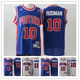 876658438 2019 Men Pistons 11 Thomas Retro Jerseys Pistons 10 Rodman Basketball  jersey Stitched Hardwood Classic Pistons Grant Hill Retro Jersey