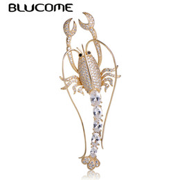 $enCountryForm.capitalKeyWord UK - Brooches Blucome Fashion Vivid Lobster Shape Brooch Full Shining Zircons Copper Pins Brooches Jewelry For Women Man Clothes Accessories