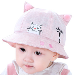 boy cat hat Australia - Cute Summer New spring embroidery little cat basin hat for babies cartoon sunbonnet for children cotton hat with Wind rope Accessories