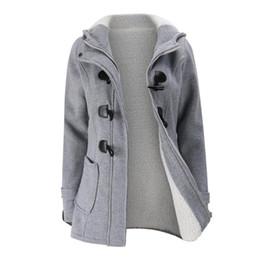 Wholesale women wool coat grey slim for sale - Group buy Jacket Coat Winter Women Hooded Wool Blend Praka Classic Horn Leather Buckle Coat Slim For Ladies Winter Jacket Woman Parka