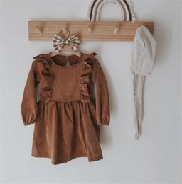Bow Briefs online shopping - DB Newest INS Kids Girls Corduroy Dresses Fly Ruffles Sleeve Great Quality Thick Winter A line Dress Autumn Children Girls Clothing
