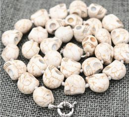 $enCountryForm.capitalKeyWord NZ - FREE SHIPPING + New 10x14mm White Carved Skull Head Mala Necklace 18