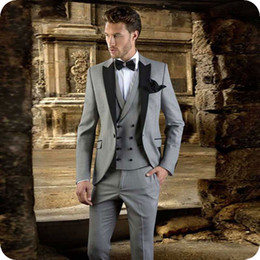 men black costume suits for wedding Australia - Italian Grey Suits Men for Wedding Groom Tuxedos Black Peak 3Piece Costume Homme Groomsmen Outfits Best Man Outfits Slim Fit Terno Masculino