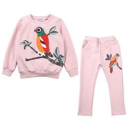 LittLe girLs two piece suits online shopping - Children Sets Girl Print Sleeve Pants Suit Round Neck Cartoon Little Bird Long Sleeve Two Piece Suit