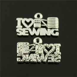 $enCountryForm.capitalKeyWord Australia - 150pcs I Heart Sewing Charm Sewing Charms I Love Sewing Antique Silver Charms Jewelry Making Accessories Wholesale 12x20mm