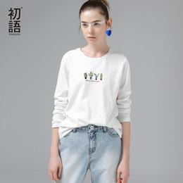 $enCountryForm.capitalKeyWord Australia - Toyouth 2019 Autumn Embroidery Cactus T-shirts Women Basic Round Neck Long Sleeve T Shirt Casual Camisetas Beige Tees & Tops Y19072001