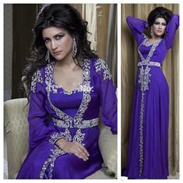 Chiffon lavender online shopping - 2020 New purple chiffon Muslim evening dresses beaded dubai Arab Turkey long evening dress Turkish robes Vestido De Festa