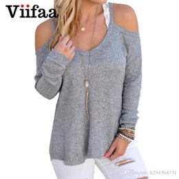 women s sexy sweater NZ - Wholesale-Viifaa Cute Off Shoulder Sweaters Women Sexy Long Sleeve Autumn Pullover Knitted Plus Size Loose O Neck Pull Femme