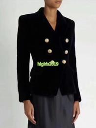 $enCountryForm.capitalKeyWord Australia - high end women girls velvet blazer jacket suit double breasted long sleeve shirt top quality paris fashion design luxury tops outerwear coat