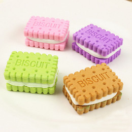 cars pencil eraser UK - 4pcs Mini Cute Biscuit Rubber Pencil Eraser For Children Stationery Prize Cleaning Tools Sponges