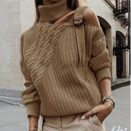 women s sexy sweater NZ - Sexy Cold Shoulder Sweater Women Belt Turtleneck Knitted Ribbed Sweater Ladies Spring AutumnTwisted Solid Pullovers Female Mujer