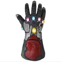 Latex Toys UK - Very cool 1:1 Marvel Avengers Iron Man Latex Gloves LED Light gemstone Iron Man Gloves model toy Action Figure Cosplay party