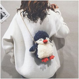 small swim bag Canada - 2019 new cartoon Plush chain small bag, cute doll, Penguin bag, One Shoulder Messenger Bag 2 colours