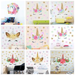AnimAl grAphics online shopping - Unicorn Stickers Unicorn wall sticker Bedroom Living Room Sofa Background Decorative Wallpaper Pvc Removable Wall sticker syles GGA1464