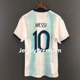 ab8125a9a 2019 Argentina Home Sky Blue White Copa America Football Soccer Jerseys  Messi Tevez Mascherano Maradona Kun Aguero Higuain Di Maria Icardi