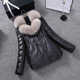 $enCountryForm.capitalKeyWord Australia - 2017 New women winter jacket warm down feather True fox fur collars female coat sheepskin leather parket plus size PC002