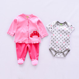baby animal romper suits NZ - 2018 Striped Baby Clothing Sets Cotton Baby Boy Girls Clothing Suits Newborn Suit 3pcs Long Sleeve Top+pants+romper New Arrival Y19050801