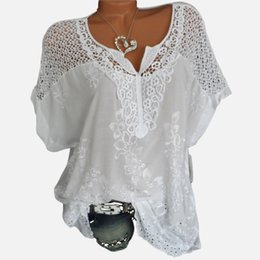 white crochet blouse NZ - White V-neck Lace Women's Blouse Shirt Plus Size 5xl Crochet Batwing Short Sleeve Embroidery Women Shirts 2019 Summer Loose Top Y19050601