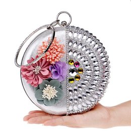 Flower Clutch Bags NZ - Women Clutch Flower Diamonds Lady Evening Bags Round Shaped Rhinestones Handmade Beaded Chain Shoulder Purse Evening Bags